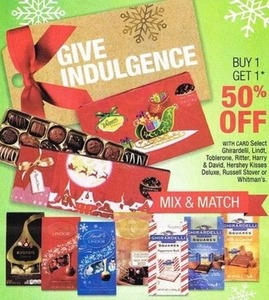Select Ghiradelli, Lindt, Toblerone, Ritter, Harry & David, Hershey Kisses Deluxe, Russell Stover or Whitmans