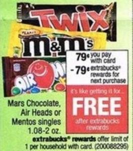Mars Chocolate, Air Heads or Mentos