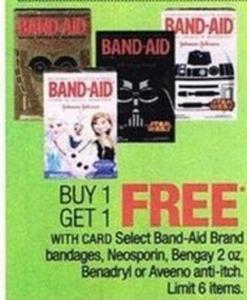 Select Band-Aid Brand Bandages, Neosporin, Bengay 2 oz., Benadryl, or Aveeno Anti-Itch