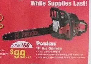 """Poulan 18"""" Gas Chainsaw"""