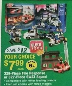 Block Tech 328-Piece Fire Response or 327-Piece SWAT Squad