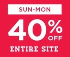 40% Off Sitewide - Sun-Mon