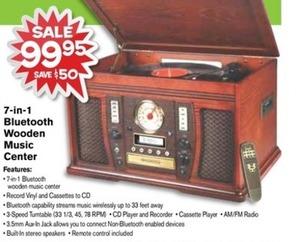 7-in-1 Bluetooth Wooden Music Center