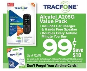Tracfone Alcatel A205G Value Pack