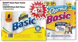 Bounty Basic Paper Towels, 8 Rolls