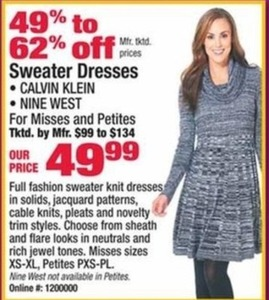 Calvin Klein and Nine West Women's Sweater Dresses