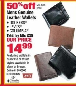 Dockers, Levi's, or Columbia Men's Leather Wallets