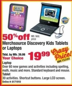 Merchsource Discovery Kids Tablets or Laptops