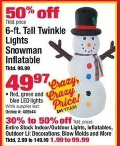6-Ft Tall Twinkle Lights Snowman Inflatable