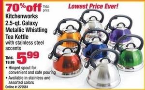 Kitchenworks 2.5-qt. Galaxy Metallic Whistling Tea Kettle