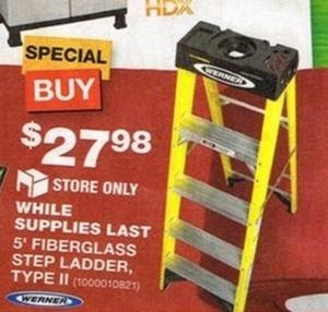 5' Fiberglass Step Ladder Type II