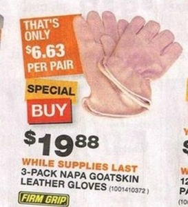 Firm Grip 3 Pack Napa Goatskin Leather Gloves