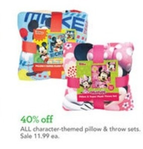Character-themed Pillow and Throw Sets