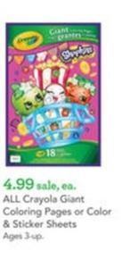 All Crayola Giant Coloring Pages or Color and Sticker Sheets