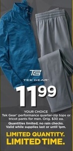 Tek Gear Performance Quarter Zip Tops or Tricot Pants For Men