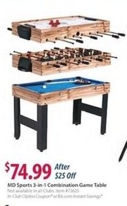 MD Sports 3 in 1 Combination Game Table