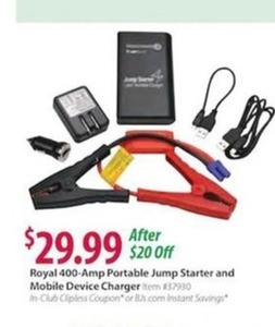 Royal 400-Amp Portable Jump Starter and Device Charger