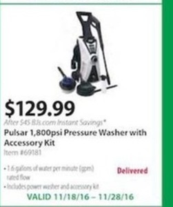 Pulsar 1,800psi Pressure Washer with Accessory Kit