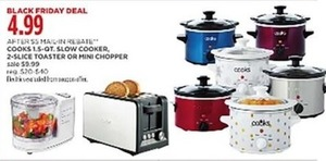 Cooks 1.5 Qt Slow Cooker, Toaster or Mini Chopper with Rebate