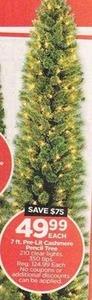 7Ft Pre-Lit Cashmere Pencil Tree