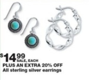 All Sterling Silver Earrings + Extra 20% Off