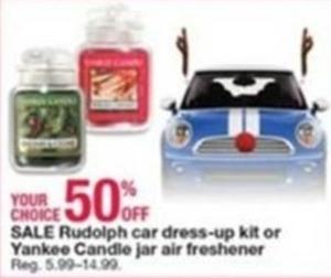 Rudolph Car Dress-Up Kit or Yankee Candle Jar Air Freshener
