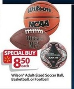 Wilson Adult-Sized Soccer Ball, Basketball, or Football