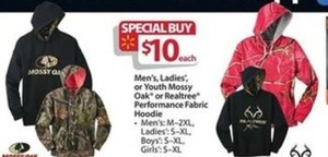 Men's, Women's and Youths' Mossy Oak or Realtree Performance Fabric Hoodie