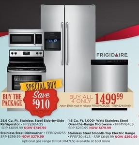 Frigidaire 25.6 Cu. Ft. Stainless Steel Side-by-Side Refrigerator Frigidaire Stainless Steel Kitchen Package