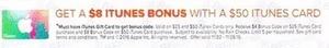 $8 iTunes Bonus w/ $50 iTunes Card