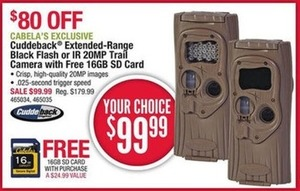 Cuddeback Extended-Range or IR 20MP Trail Camera + Free 16GB SD Card