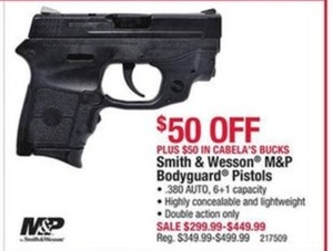 Smith & Wesson M&P Bodyguard Pistols with $50 Cabela Bucks