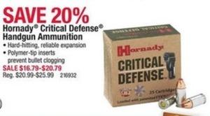 Hornady Critical Defense Handgun Ammunition