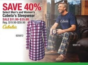Select Men's and Women's Cabela's Sleepwear