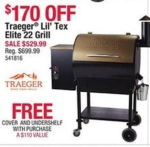NEW! Traeger Lil' Tex Elite 22 Grill Traeger Lil' tex Elite 22 Grill with Cover and Undershelf
