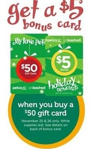Free $5 Gift Card w/ $50 Gift Card Order