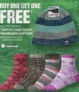 Yaktrax Cabin Socks Headbands, and Hats