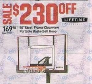 "Lifetime 50"" Steel-Frame Clearview Portable Basketball Hoop"