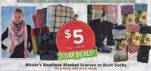 Nicole's Boutique Blanket Scarves or Boot Socks