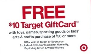 $10 Target Gift Card w/ $50+ Games, Sporting Goods & More
