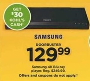 Samsung 4K Blu-ray Player + $30 Kohl's Cash