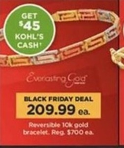 Reversible 10K Gold Bracelet + $45 Kohl's Cash