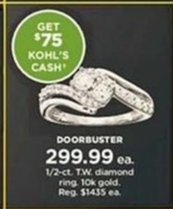 1/2 - c.t. T.W. 10K Gold Diamond Ring + $75 Kohl's Cash