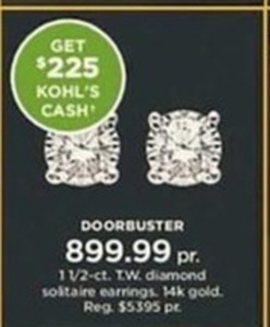 1 1/2-ct. T.W. Diamond Solitaire Earrings + $225 Kohl's Cash