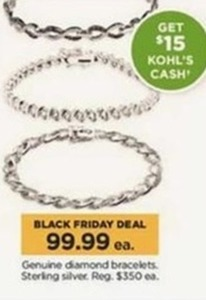 Genuine Diamond Sterling Silver Bracelets + $15 Kohl's Cash