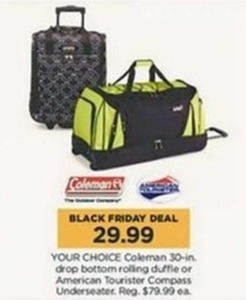 "Coleman 30"" Rolling Duffel or American Tourister Compass Underseater"