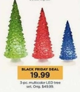 3-Piece Multicolored LED Tree Set