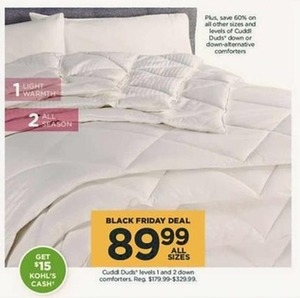 Cuddl Duds Level 1 and 2 Down Comforter + $15 Kohl's Cash