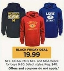 NFL | NCAA | MLB | NHL | & NBA Boys Fleeces (Size 8-20)