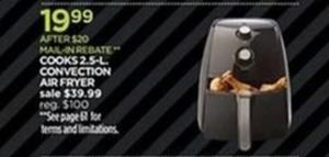 Cooks 2.5L Convection Air Fryer After Rebate